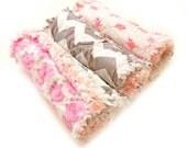 Burp Cloths - Pink Pigs Gray Chevron  Baby set of 3 Rag  Raggedy - ready to ship