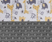 Personalized Baby Blanket Boy or Girl - Minky Baby Lovey Blanket or tag, Yellow Gray Animal Blanket