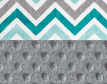 SALE Minky Baby Blanket,  Personalized Topaz Gray Chevron Stroller - Double Minky Blanket - monogrammed Blanket #1