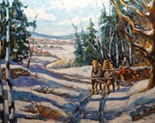 Winter Scene Loggers Horses Large Oil Painting created by Prankearts