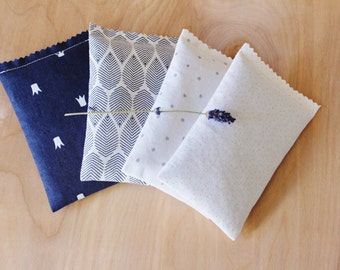 Navy Blue White & Gray Lavender Sachets - Scented Drawer Sachets - Modern Dorm Decor