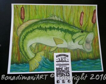 Watercolor Print 8x10 - Large mouth bass