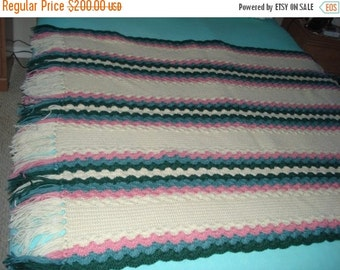 CHRISTMAS IN JULY 10% Off Brand New Ready to be shipped Today, Handmade Crochet Pastel Color Afghan Throw Over-Blanket, Football Blanket