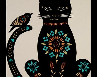 Cat Tale - 8 X 10 inch Cut Paper Art Print