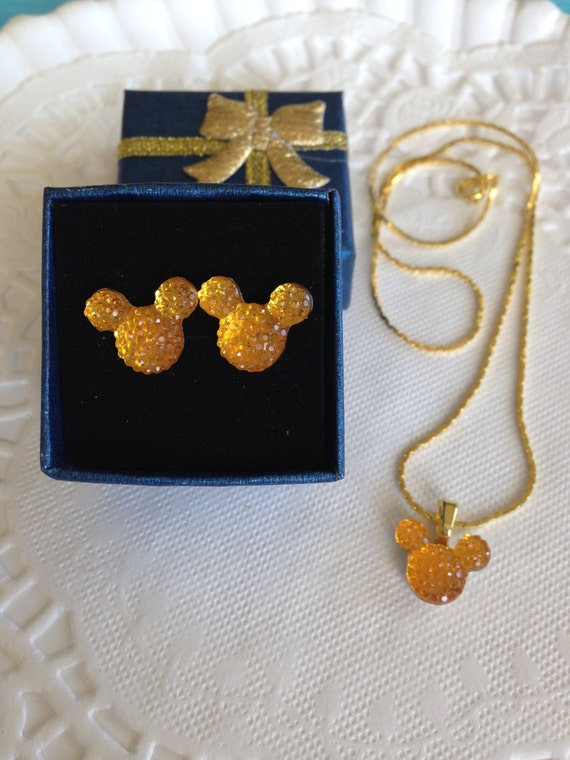 MOUSE EARS Necklace and Earrings Set for Themed Wedding Party in Dazzling Bright Golden Acrylic