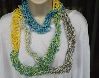 Handmade Fingerknit Inifinity Scarf Made with Multicolored Embroidery Thread