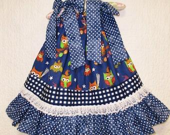 Baby Girls 12M/18M Dress Royal Blue Dots Owls Boutique Pillowcase Dress Pillow Case Dress