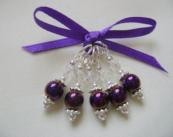 Purple Hematite Stitch Markers for Knitting or Crochet