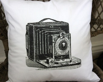 Decorative Pillow Cover - Vintage Camera Linen Pillow Cover