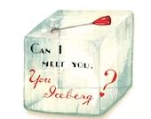Vintage Valentine's Day Card Ice Block Pick Die Cut