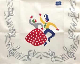 Vintage Dish Towel Kitchen Linen Folk Dancers NOS Bucilla Music Dancing