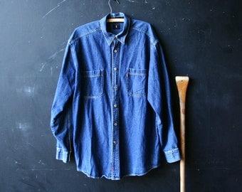Denim Shirt Mens Long Sleeve Shirt Vintage From Nowvintage on Etsy