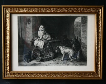 Dog Print Framed Of 1833 Painting by Edwin Landseer Titled Jack in Office Vintage from Nowvintage on Etsy