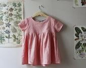 Pink Linen Dress, Linen Dress in Blush, Pink Short Sleeve Dress, Pink Dress, Blush Linen Dress, Girls dress, Linen Dress, Back to School