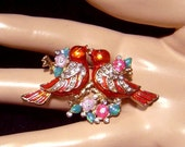 Vintage Red enameled Birds on a branch Pin Adorable!