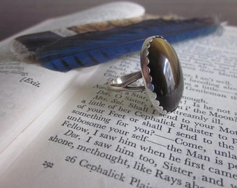 Large oval Sterling Silver and Tiger Eye ring sz. 7.5