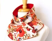 the phoenix button scarf -  bold and colorful floral and bird print cowl lined with red microfleece