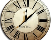 30in OXFORD LINEN Large Wall Clock Gallery Antique Style Family Heirloom Gift FREE Inscription
