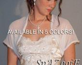 Chiffon bridal bolero jacket wedding shrug short sleeve trimmed CBA203 AVAILABLE IN 5 COLORS white, ivory, champagne, navy blue, black