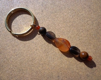 Key Ring Charm for Courage with Carnelian, Smoky Quartz and Tiger Iron Gemstones, Confidence Stones, Protection Stones, Good Luck Stones