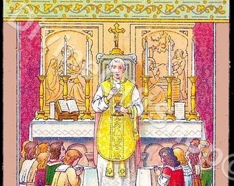 """Icon """"Let The Children Come To Me"""" 5"""" X 7"""" Print. Gorgeous Catholic Image of Jesus & The Holy Mass."""