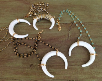 Double Horn Necklace, Crescent Horn Necklace, Crescent Moon Necklace, Crescent Horn, Horn Necklace, Rosary Double Horn Necklace