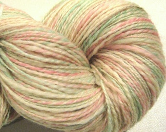 Handspun yarn Tea Rose worsted weight  2 ply, 392 yards hand dyed BFL wool  white pink green ecru knitting supplies crochet supplies