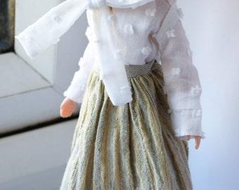 Beautiful cotton stripe full midi skirt for Blythe doll