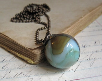 Glass Shooter Marble Necklace Khaki Teal Swirl *Sale*