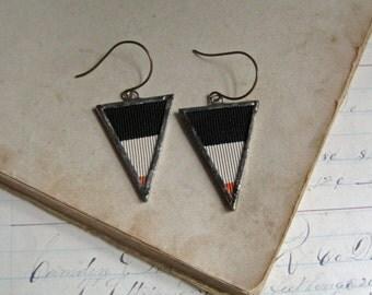 Vintage Silk Ribbon Triangle Earrings Boho Jewelry Halloween