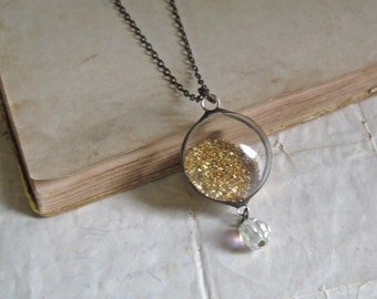 Glitter Girl Glass Orb Necklace with Vintage Bead German Gold Glass Glitter