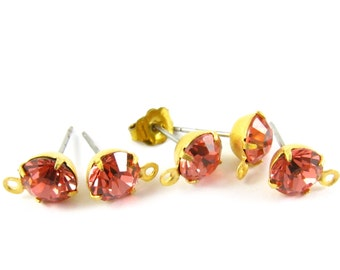 2 pcs - Gold Plated Swarovski Crystal Earring Posts with Loop Rhinestone Ear Studs Earring Finding Round 6.5mm - Peach