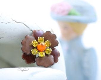 Vintage Multilayer Enamel Rhinestone Flower Brown Orange Citrine Yellow Swarovski Crystal Czech Bead