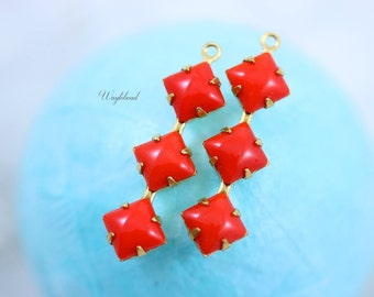 Vintage Glass Square Stone in 1 Ring 3 Stones Brass Prong Settings 30x8mm Opaque Red - 2