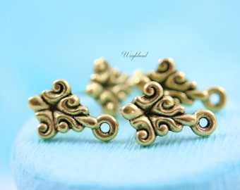 Baroque Style Earring Posts with Loop 24K Matte Gold Antique Plated Ear Studs Earring Finding Round - 2