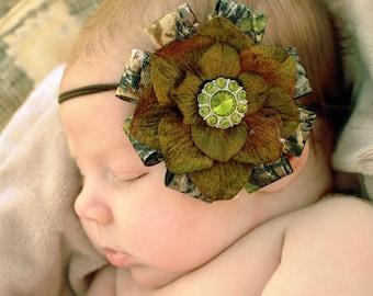 New Mossy Oak BREAK UP Camo Green Flower Skinny Headband