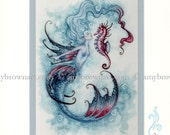 Hand Accented MERMAID PRINT 5x7 matted 8x10 by Amy Brown