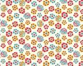Tulip Toss, Birch Organic Fabrics, Frolic, Rebekah Ginda, Organic Designer Cotton, Aqua, Orange, Red - Baby Girl, Available in Custom Cuts
