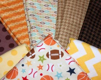 Flannel, Rag Quilt, Blanket, Kit, DIY, Baby, Boy, Basketball, Football, Baseball, Brown, Blue, Red, Grey,Orange, Green, Cars,Animals, Modern