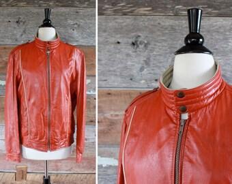 motorcycle jacket // JENO DE PARIS // 1980s orange leather moto jacket // size l - xl women or size s - m men