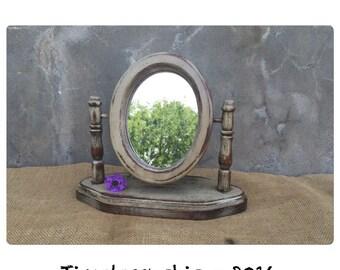 Mirror - Vanity Mirror - Swivel Mirror - Wooden Mirror - Rustic Decor - Primitive Decor - Farmhouse Decor - Chic