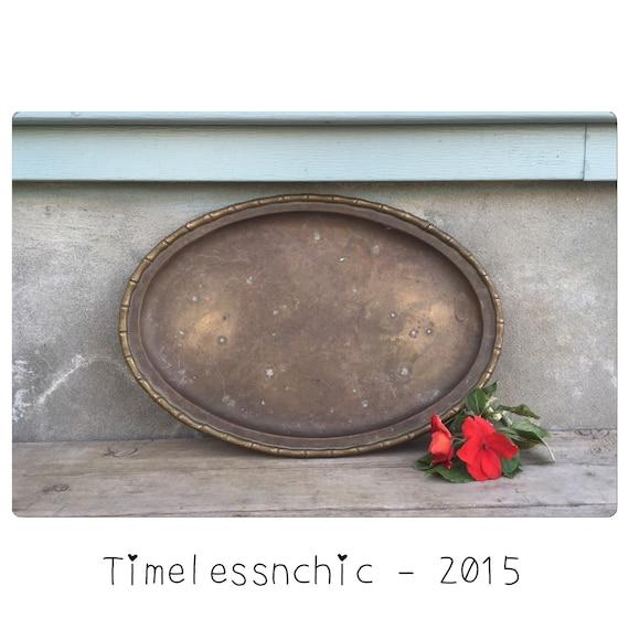 Brass tray decorative tray vanity tray vintage metal for Decorative bathroom tray
