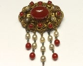 Glass Carnelian and Pearl Dangle Brooch Ornate Filigree Vintage