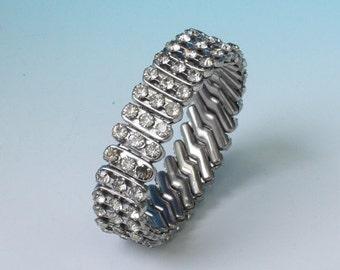 CIJ Sale Clear Rhinestone Expansion Stretch Bracelet Hong Kong Vintage