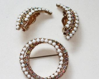 CIJ Sale AB Rhinestone Milk Glass Brooch and Earrings Set Signed Tara Vintage