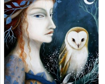 A fairytale art print .'Lady of the Owls' by Amanda Clark. Mystical, owl painting, portrait painting.