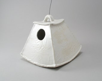 Ceramic Bird House, White Birdhouse, Stoneware, Textured, Ready to Ship