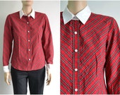 Red Plaid Cotton Blouse with Contratsting White Collar and Cuffs medium petite