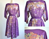 Vintage 70s Sheer Floral Dress Purple with Cascading Flowers Border Print - Extra Small