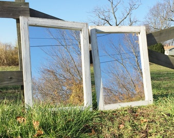 2 White Wash Mirrors Size 24 x 28 - Rustic bathroom Mirror Set For Double Vanity - Washed